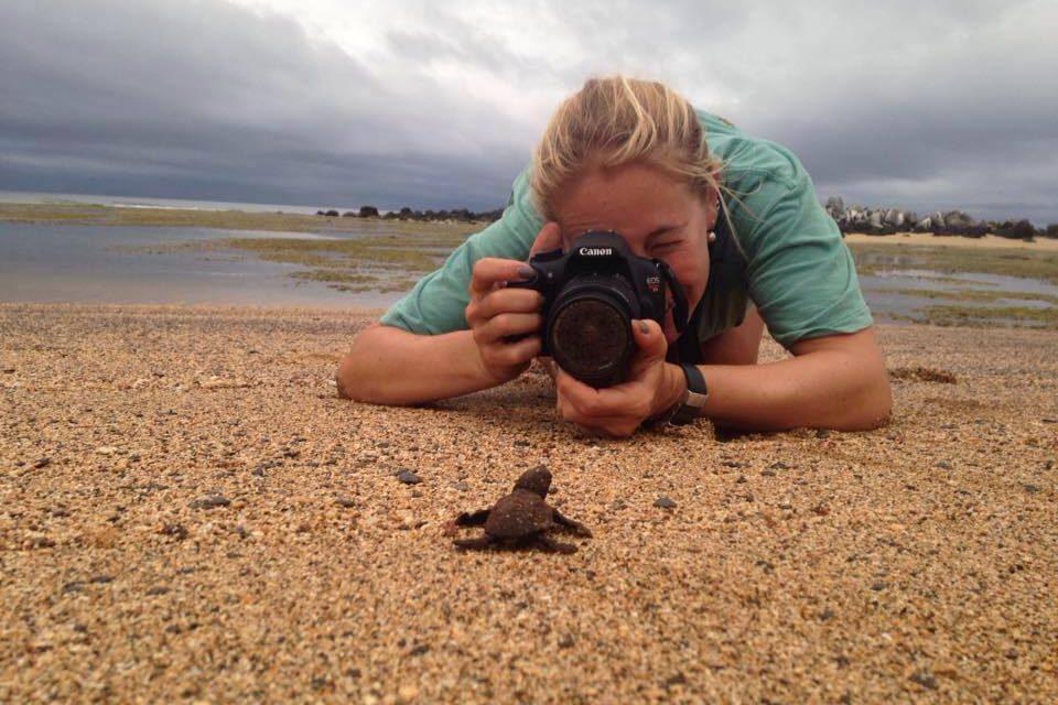 A bióloga Marina Leite Marques, colaboradora do www.ecoinforme.com.br, registrando a fauna de Abrolhos