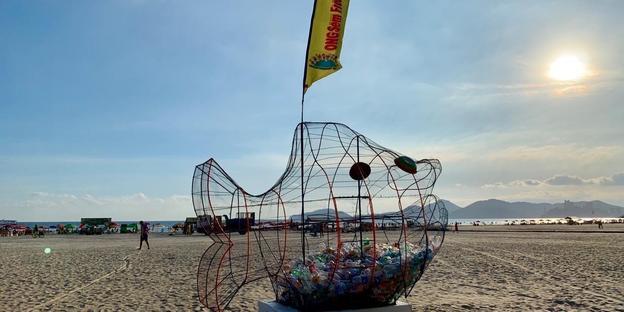 Peixe de arame come plástico em Santos