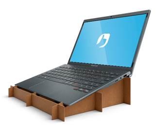 Embalagem vira suporte do notebook